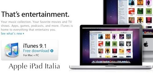 Apple rilascia download iTunes 9.1 per iPad Italia