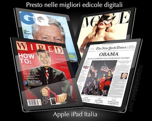 iPad riviste e giornali quotidiani e settimanali e mensili