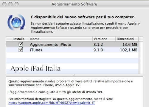 Anteprima iTunes 9.1 da Apple iPad Italia