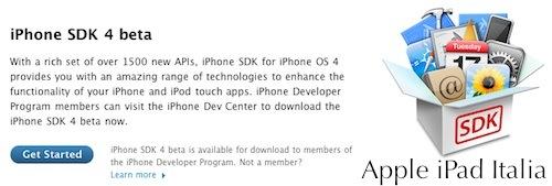 iPhone Sdk 4.0 disponibile per gli sviluppatori