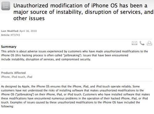 Documento Apple su Jailbreak