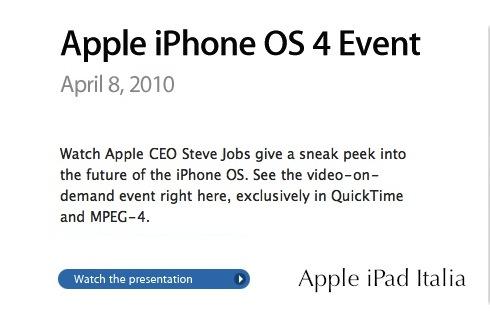 video della presentazione di iPhone os 4.0 ipad