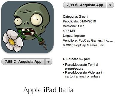 Plants vs. zombies hd - scheda Apple ipad Italia