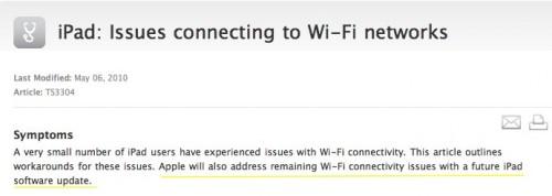 Problema iPad WiFi risolto con Update