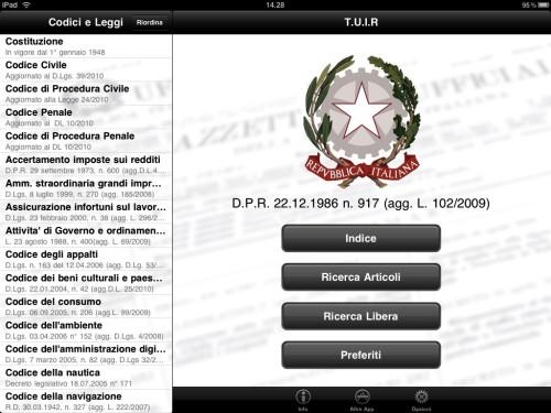 Le leggi italiane su iPad