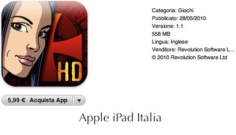 Broken Sword bellissima avventura grafica per iPad