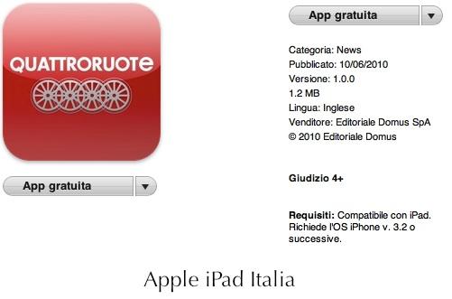 Rivista automobilistica Quattroruote per iPad