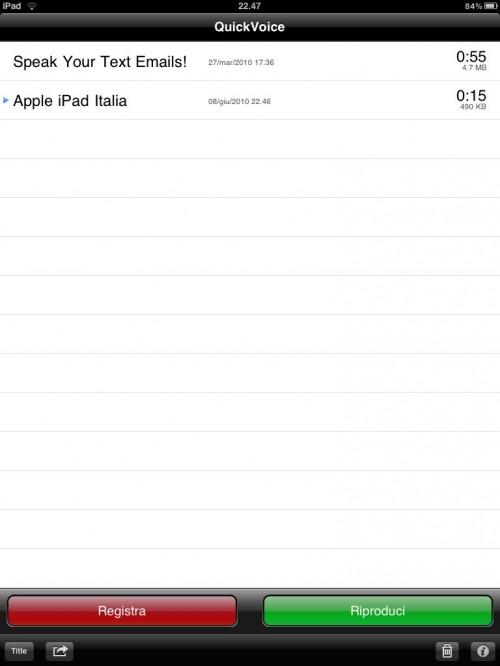 iPad registratore audio di note vocali