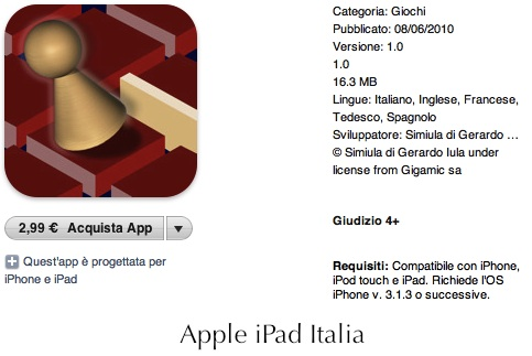 Simpatico puzzle game italiano