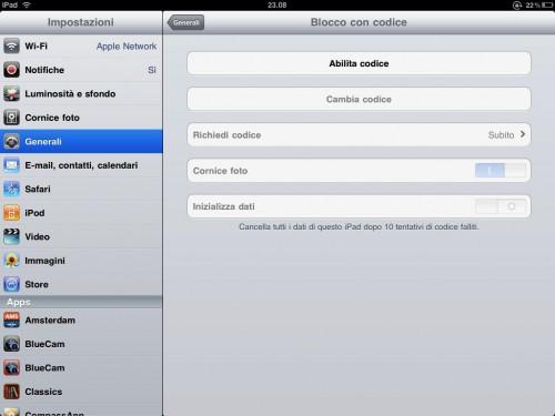 Cancellazione dei dati su iPad con il metodo password autodistruzione