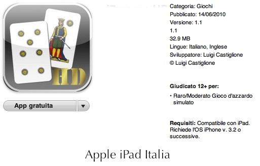 Il gioco del sette e mezzo arriva su iPad