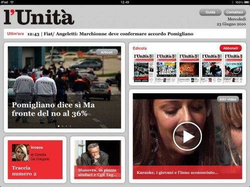 il quotidiano l'Unità arriva su iPad