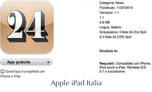 Il sole 24 ore arriva su iPad