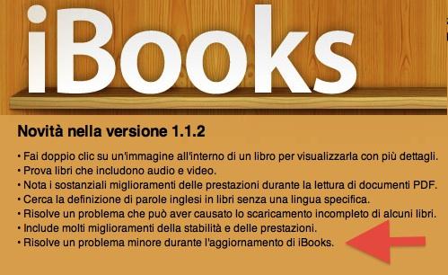 nuovo aggiornamento di iBooks