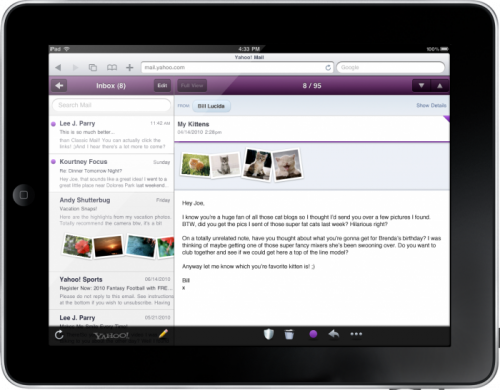 Posta migliorata per Yahoo! su iPad