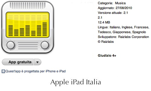 Radiosveglia gratuita per iPad