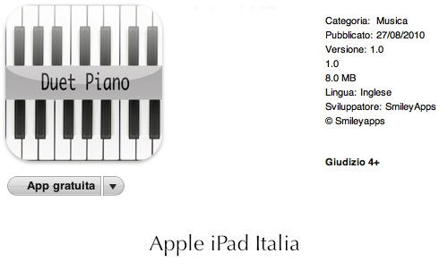 pianoforte doppio per ipad