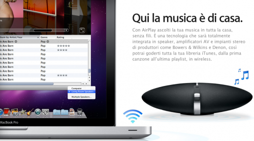 airplay per attivare lo streaming audio in casa