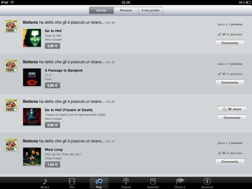 Introdotto Ping su iPad