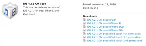 ios 4.2.1 disponibile per gli sviluppatori