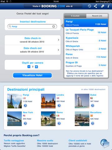 prenotare alberghi da iPad